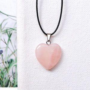 Rose Quartz Heart Pendant Necklace/Choker